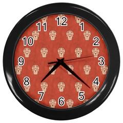 Skull Pattern Terra Wall Clocks (black) by MoreColorsinLife