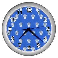 Skull Pattern Inky Blue Wall Clocks (silver)  by MoreColorsinLife