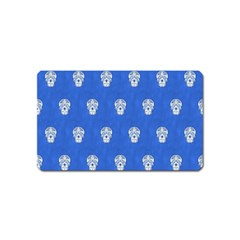Skull Pattern Inky Blue Magnet (name Card) by MoreColorsinLife