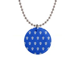 Skull Pattern Inky Blue Button Necklaces by MoreColorsinLife