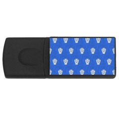 Skull Pattern Inky Blue Usb Flash Drive Rectangular (4 Gb)  by MoreColorsinLife