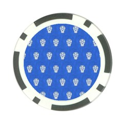 Skull Pattern Inky Blue Poker Chip Card Guards (10 Pack)  by MoreColorsinLife