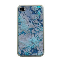 Marbled Lava Blue Apple Iphone 4 Case (clear) by MoreColorsinLife