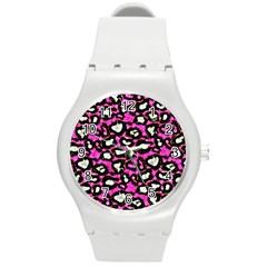 Pink Black Cheetah Abstract  Round Plastic Sport Watch (m) by OCDesignss