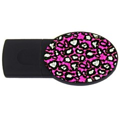 Pink Black Cheetah Abstract  Usb Flash Drive Oval (2 Gb)  by OCDesignss