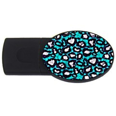 Turquoise Black Cheetah Abstract  Usb Flash Drive Oval (2 Gb)  by OCDesignss