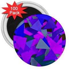 Geo Fun 8 Inky Blue 3  Magnets (100 Pack) by MoreColorsinLife