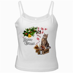 Free books for Christmas White Spaghetti Tanks by JustKidding