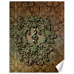 Elegant Clef With Floral Elements On A Background With Damasks Canvas 12  X 16   by FantasyWorld7