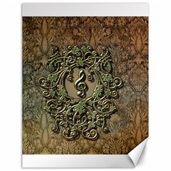 Elegant Clef With Floral Elements On A Background With Damasks Canvas 18  X 24   by FantasyWorld7