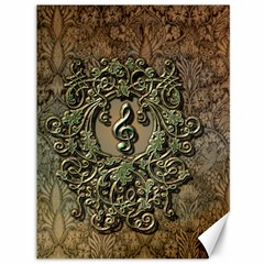 Elegant Clef With Floral Elements On A Background With Damasks Canvas 36  X 48   by FantasyWorld7