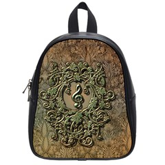 Elegant Clef With Floral Elements On A Background With Damasks School Bags (small)  by FantasyWorld7
