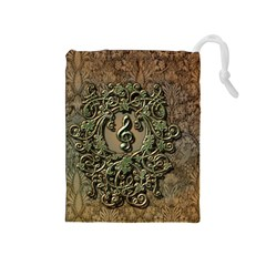 Elegant Clef With Floral Elements On A Background With Damasks Drawstring Pouches (Medium)  by FantasyWorld7