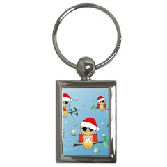 Funny, Cute Christmas Owls With Snowflakes Key Chains (rectangle)  by FantasyWorld7