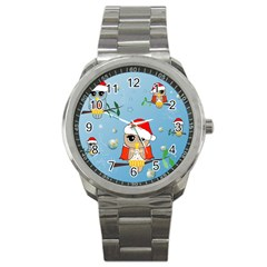 Funny, Cute Christmas Owls With Snowflakes Sport Metal Watches by FantasyWorld7