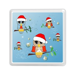 Funny, Cute Christmas Owls With Snowflakes Memory Card Reader (square)  by FantasyWorld7