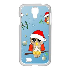 Funny, Cute Christmas Owls With Snowflakes Samsung Galaxy S4 I9500/ I9505 Case (white) by FantasyWorld7