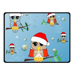 Funny, Cute Christmas Owls With Snowflakes Double Sided Fleece Blanket (small)  by FantasyWorld7