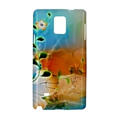 Wonderful Flowers In Colorful And Glowing Lines Samsung Galaxy Note 4 Hardshell Case by FantasyWorld7