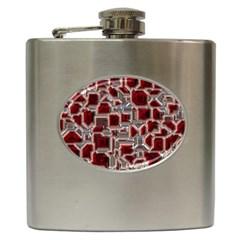 Metalart 23 Red Silver Hip Flask (6 Oz) by MoreColorsinLife