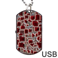 Metalart 23 Red Silver Dog Tag Usb Flash (two Sides)  by MoreColorsinLife