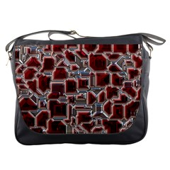 Metalart 23 Red Silver Messenger Bags by MoreColorsinLife