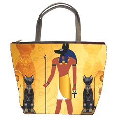 Anubis, Ancient Egyptian God Of The Dead Rituals  Bucket Bags by FantasyWorld7