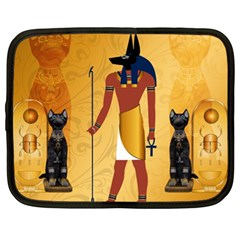 Anubis, Ancient Egyptian God Of The Dead Rituals  Netbook Case (xl)  by FantasyWorld7