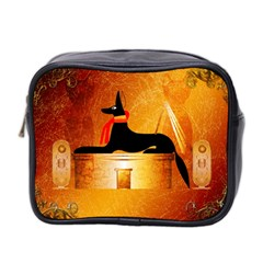 Anubis, Ancient Egyptian God Of The Dead Rituals  Mini Toiletries Bag 2 Side by FantasyWorld7