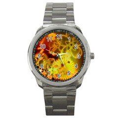 Glowing Colorful Flowers Sport Metal Watches by FantasyWorld7