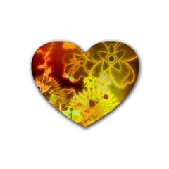 Glowing Colorful Flowers Heart Coaster (4 Pack)  by FantasyWorld7