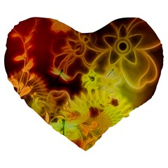 Glowing Colorful Flowers Large 19  Premium Heart Shape Cushions by FantasyWorld7
