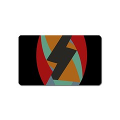 Fractal Design In Red, Soft Turquoise, Camel On Black Magnet (name Card) by theunrulyartist