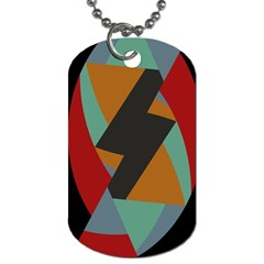 Fractal Design In Red, Soft Turquoise, Camel On Black Dog Tag (two Sides) by theunrulyartist