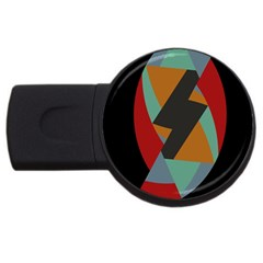 Fractal Design In Red, Soft Turquoise, Camel On Black Usb Flash Drive Round (4 Gb)