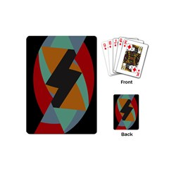 Fractal Design In Red, Soft Turquoise, Camel On Black Playing Cards (mini)  by theunrulyartist