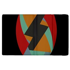Fractal Design in Red, Soft-Turquoise, Camel on Black Apple iPad 2 Flip Case by theunrulyartist