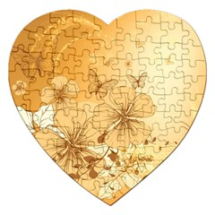 Wonderful Flowers With Butterflies Jigsaw Puzzle (Heart) by FantasyWorld7