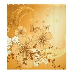 Wonderful Flowers With Butterflies Shower Curtain 66  x 72  (Large)  by FantasyWorld7