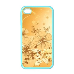 Wonderful Flowers With Butterflies Apple Iphone 4 Case (color) by FantasyWorld7