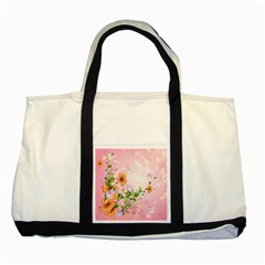 Beautiful Flowers On Soft Pink Background Two Tone Tote Bag  by FantasyWorld7