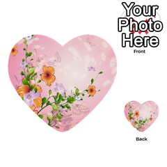 Beautiful Flowers On Soft Pink Background Multi Purpose Cards (heart)  by FantasyWorld7