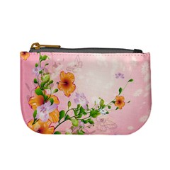 Beautiful Flowers On Soft Pink Background Mini Coin Purses by FantasyWorld7
