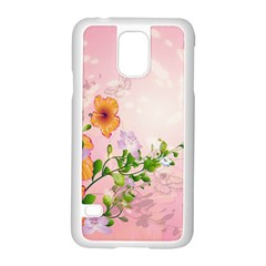 Beautiful Flowers On Soft Pink Background Samsung Galaxy S5 Case (white) by FantasyWorld7