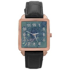 Vintage Floral In Blue Colors Rose Gold Watches