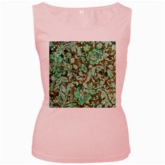 Beautiful Floral Pattern In Green Women s Pink Tank Tops by FantasyWorld7
