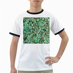 Beautiful Floral Pattern In Green Ringer T Shirts by FantasyWorld7