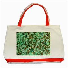 Beautiful Floral Pattern In Green Classic Tote Bag (Red)  by FantasyWorld7