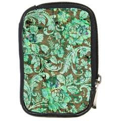 Beautiful Floral Pattern In Green Compact Camera Cases by FantasyWorld7