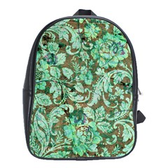 Beautiful Floral Pattern In Green School Bags (xl)  by FantasyWorld7